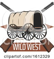 Clipart Of A Covered Wagon Over Wild West Text And Crossed Rifles Royalty Free Vector Illustration