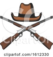 Clipart Of A Cowboy Hat Over Crossed Rifles Royalty Free Vector Illustration