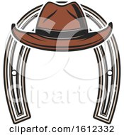 Clipart Of A Cowboy Hat And Horseshoe Royalty Free Vector Illustration