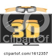 Clipart Of A Screen With Ed Glasses Royalty Free Vector Illustration