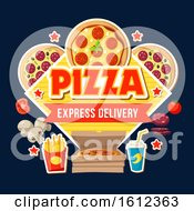Clipart Of A Pizza Express Delivery Design Royalty Free Vector Illustration
