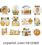 Clipart Of Beer Designs Royalty Free Vector Illustration