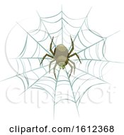 Clipart Of A Spider On A Web Royalty Free Vector Illustration