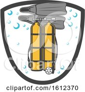 Clipart Of A Shield With Diving Gear Royalty Free Vector Illustration