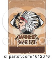 Clipart Of A Chief With Axes On A Wild West Design Royalty Free Vector Illustration