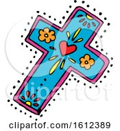 Clipart Of A Dia De Muertos Day Of The Dead Cross Royalty Free Vector Illustration