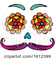 Clipart Of A Dia De Muertos Day Of The Dead Face Royalty Free Vector Illustration