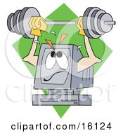 Poster, Art Print Of Powerful And Strong Computer Lifting A Heavy Barbell Above His Screen