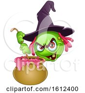 Clipart Of A Green Halloween Emoji Witch Stirring A Cauldron Royalty Free Vector Illustration