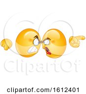 Clipart Of Yellow Emojis Butting Heads And Fighting Royalty Free Vector Illustration