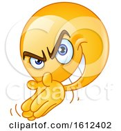 Clipart Of A Yellow Emoji Scheming Royalty Free Vector Illustration