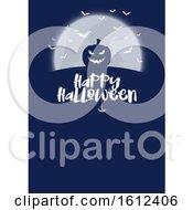 Halloween Menu Design With Pumpkin And Bats
