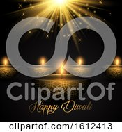Poster, Art Print Of Diwali Background With Oil Lamps On Starburst Background