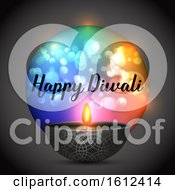 Diwali Background With Lamp On A Bokeh Lights Background