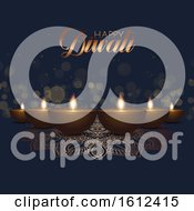 Poster, Art Print Of Diwali Background With Oil Lamps And Bokeh Lights