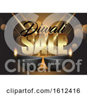Poster, Art Print Of Diwali Sale Background With Oil Lamps