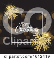 Christmas Background With Glittery Snowflakes And White Frame
