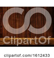 Poster, Art Print Of 3d Wooden Table Against A Wood Wall Texture