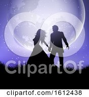 Poster, Art Print Of Silhouette Of Wedding Couple Against A Moonlit Sky