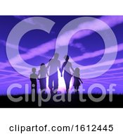 Poster, Art Print Of 3d Silhouette Of A Family Walking Against A Sunset Sky