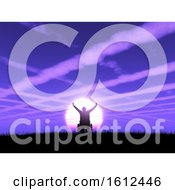 3D Male In Wheelchair With Arms Raised Against A Purple Sunset Landscape With Cloud Trails In The Sky
