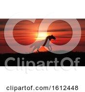 Poster, Art Print Of 3d Horse Running In A Sunset Landscape