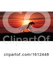 3D Horse Running In A Sunset Landscape