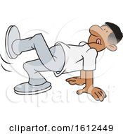 Poster, Art Print Of Cartoon Black Man Doing A Stretching Exercise