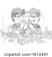 Clipart Of A Grayscale Group Of Men Drinking Shots And Eating Royalty Free Vector Illustration