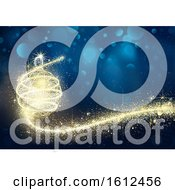 Blue And Gold Christmas Background With A Magical Bauble