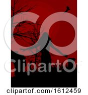 Dark Red Halloween Background With Female Zombie Silhouette Walking In A Graveyard