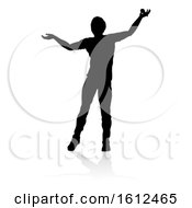 Singer Pop Country Or Rock Star Silhouette On A White Background
