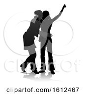 Young Friends Silhouette On A White Background