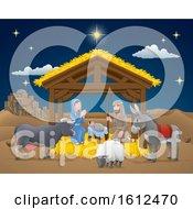 Cartoon Nativity Christmas Scene by AtStockIllustration