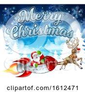 Merry Christmas Santa Rocket Sleigh Background