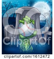 Poster, Art Print Of Baseball Zombie Halloween Graveyard Concept