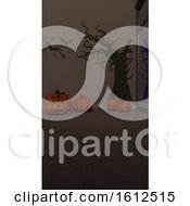 Poster, Art Print Of 3d Contemporary Empty Room With Jack-O-Lantern