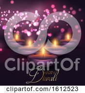 Poster, Art Print Of Diwali Background With Lamps On A Bokeh Lights Background