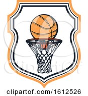 Clipart Of A Baskeball Shield Design Royalty Free Vector Illustration