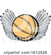 Clipart Of A Winged Baskeball Royalty Free Vector Illustration