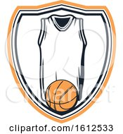 Poster, Art Print Of Baskeball And Jersey Shield Design