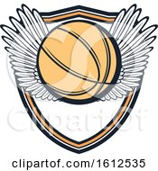 Poster, Art Print Of Winged Baskeball Shield Design