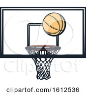 Clipart Of A Baskeball And Hoop Royalty Free Vector Illustration