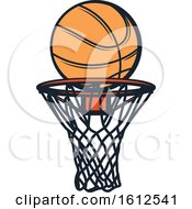 Clipart Of A Baskeball And Hoop Royalty Free Vector Illustration by Vector Tradition SM