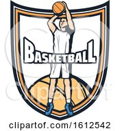 Poster, Art Print Of Baskeball Player Shield Design