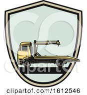 Clipart Of A Shield Automotive Tow Truck Design Royalty Free Vector Illustration