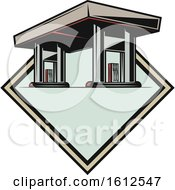 Clipart Of A Gas Station Automotive Design Royalty Free Vector Illustration