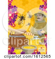 Clipart Of A Beekeeper With Bees Flowers And Honey Royalty Free Vector Illustration