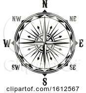Clipart Of A Black And White Compass Royalty Free Vector Illustration