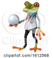 3d Green Doctor Frog Holding A Golf Ball On A White Background